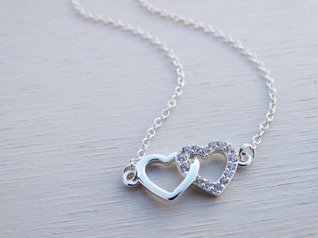 Double Heart Necklace, Sterling Silver, Cubic Zirconia