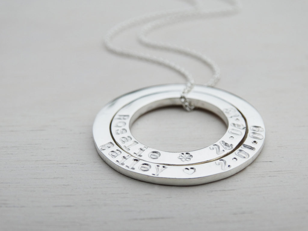 Personalised Double Silver Circle Necklace | Sterling Silver | Hand Stamped Names