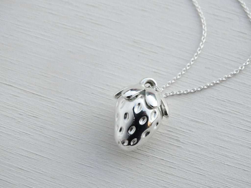 Silver Strawberry Necklace, Solid Sterling Silver, Long Chain