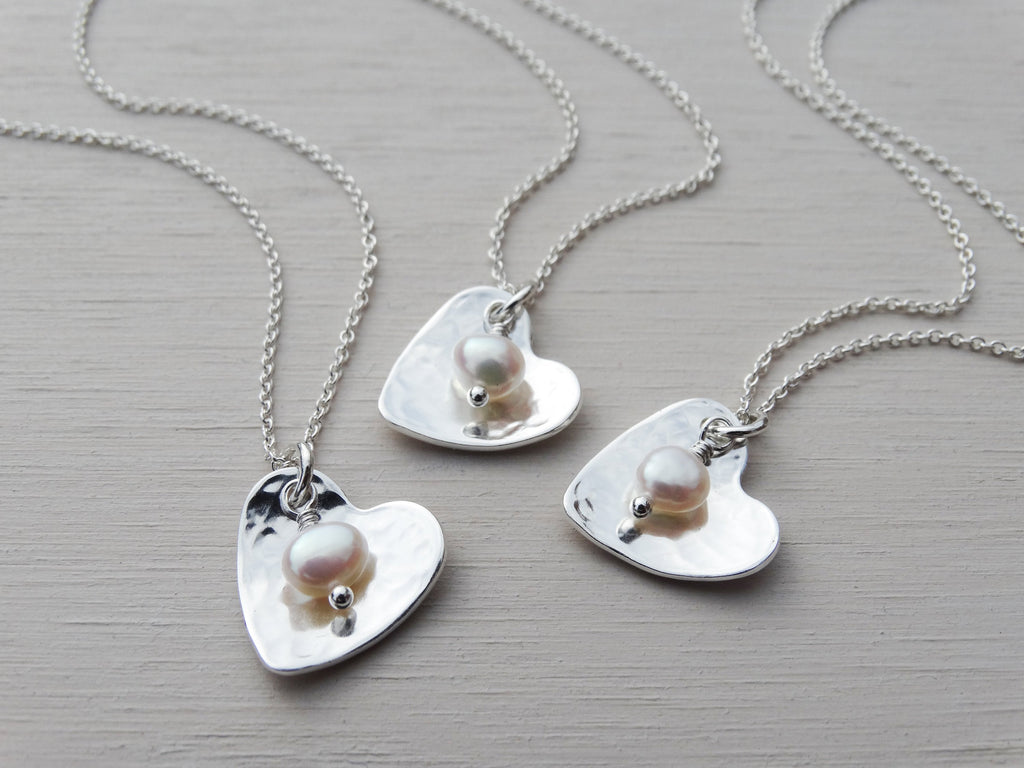Mini Silver Heart Necklace & Pearl, Sterling Silver, Bridesmaid Gift