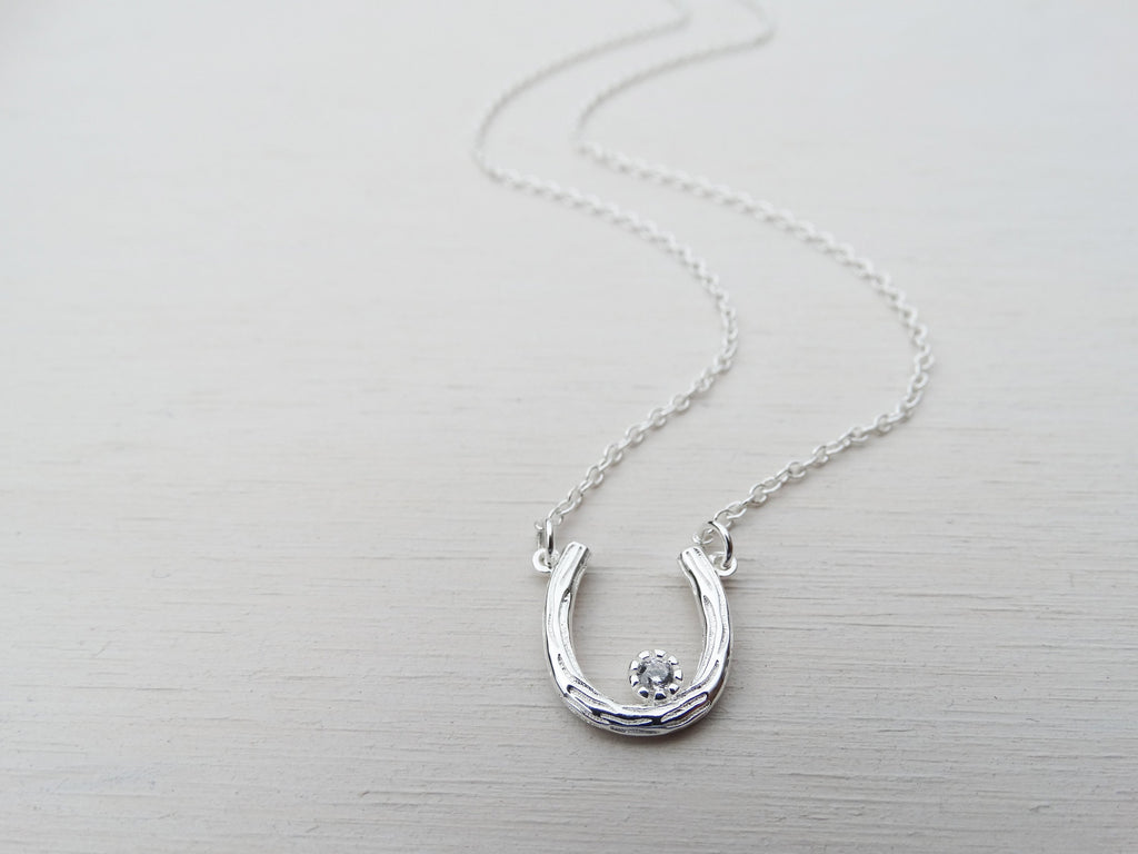 Silver Horseshoe Necklace & Cubic Zirconia Solitaire, Good Luck Charm, Sterling Silver