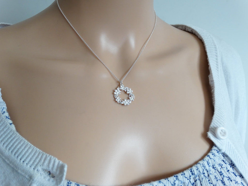 Silver Flower Ring Necklace, Sterling Silver, Spring Summer Jewellery