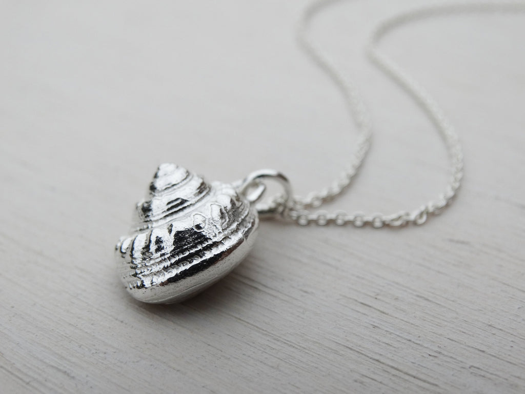 Silver Seashell Necklace | Periwinkle | Sterling Silver
