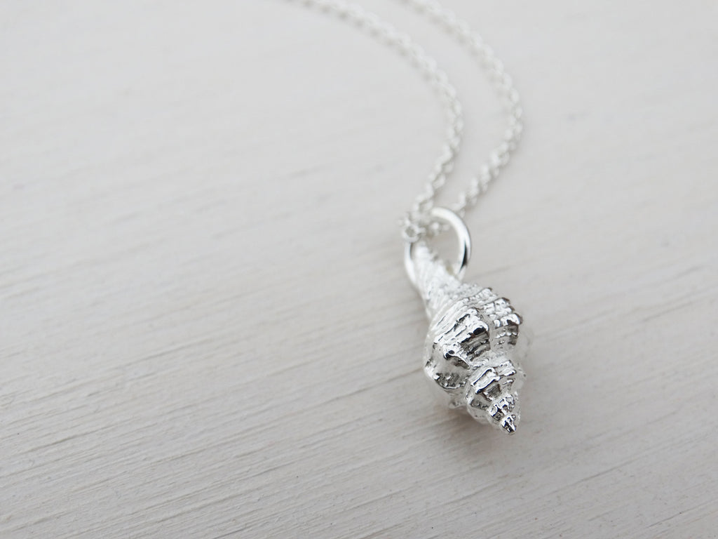 Silver Shell Necklace | Whelk Seashell | Sterling Silver