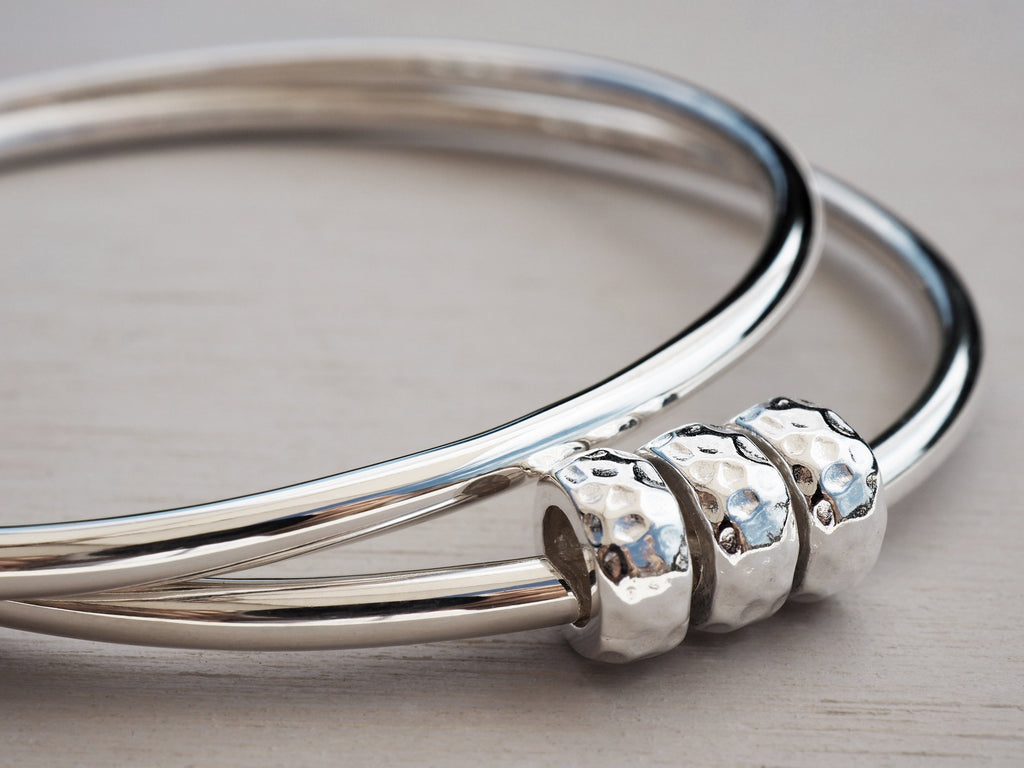 Solid Silver Bangle With Hammered Beads, Sterling Silver