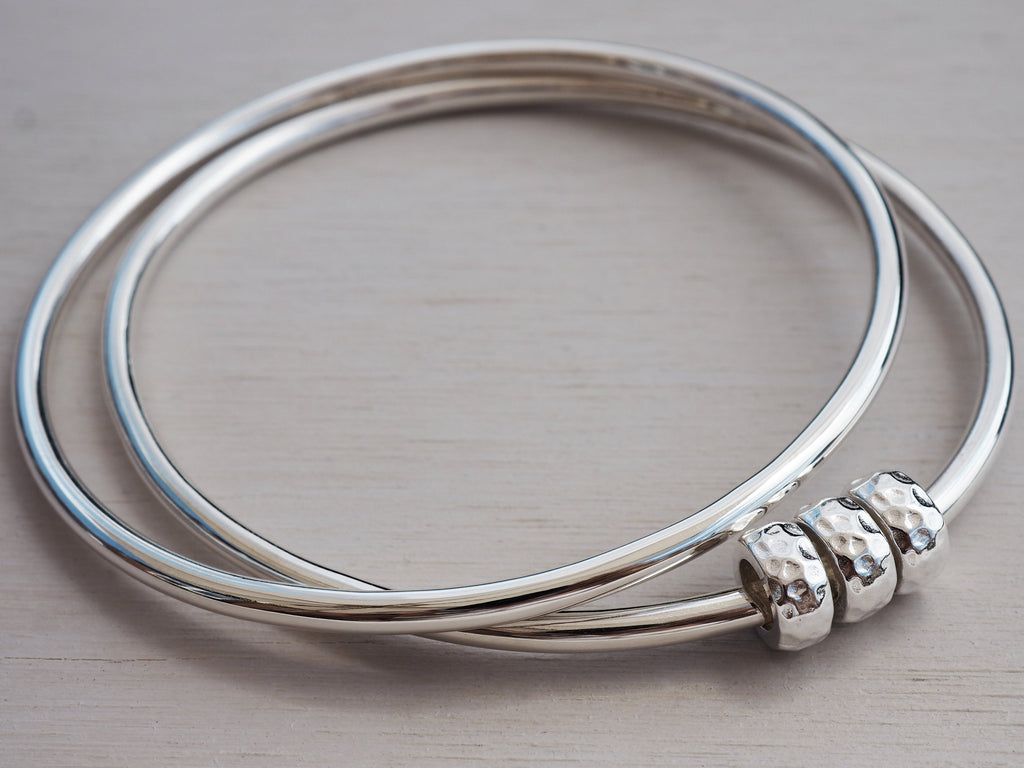 Solid Silver Bangle With Hammered Beads | Sterling Silver