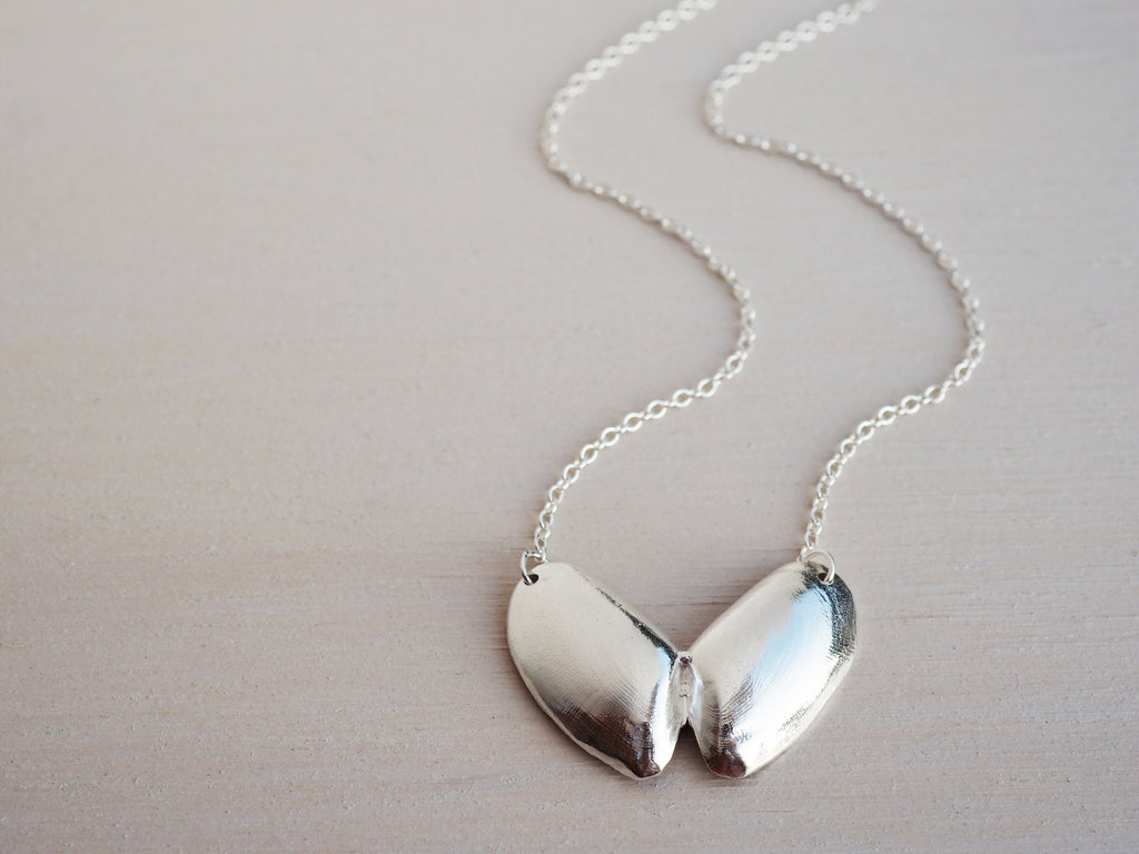 Silver Butterfly Seashell Necklace, Coquina Clam Shell, Sterling Silver