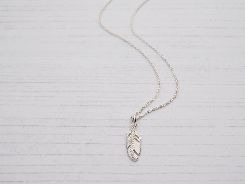 Tiny Silver Feather Necklace | Sterling Silver & Cubic Zirconia