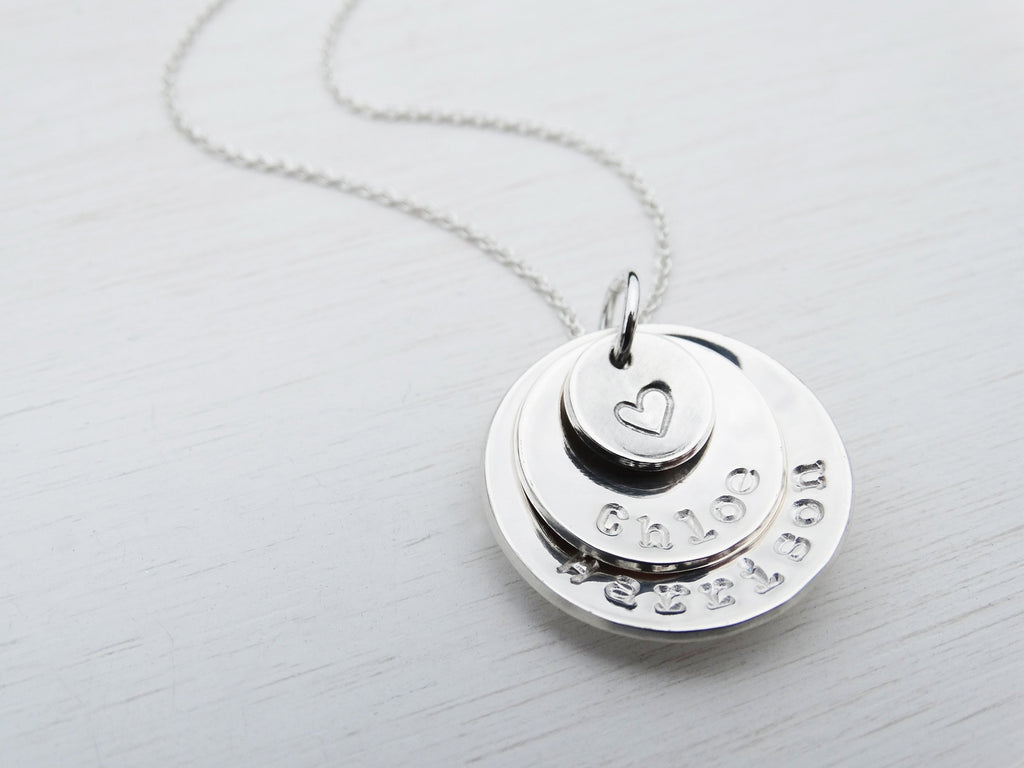 Personalised Circle Necklace, Sterling Silver, Names