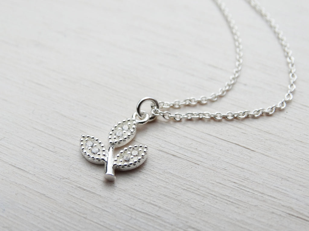 Tiny Silver Leaf Necklace With Cubic Zirconia, Sterling Silver
