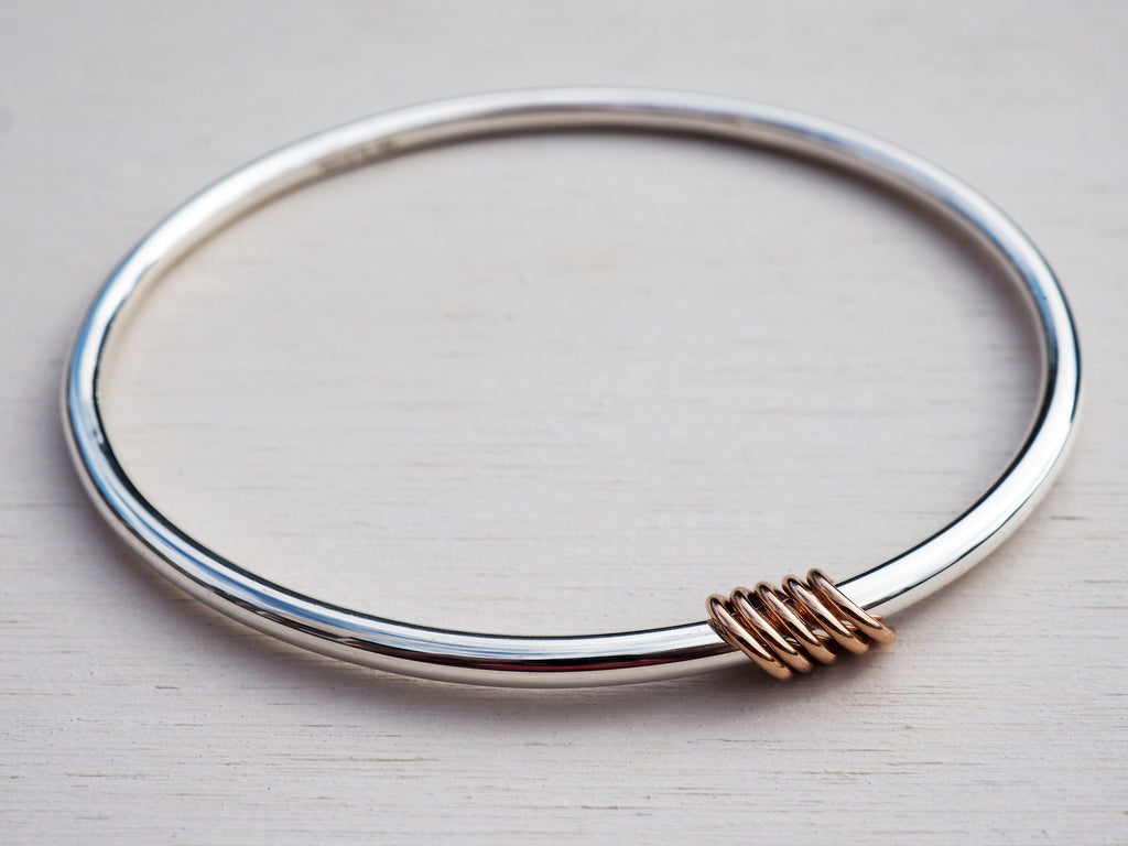 Solid Silver Bangle & Rose Gold Rings, Sterling Silver, 9ct Gold