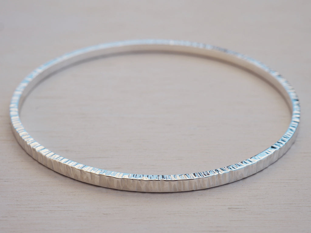 Silver Bangle, Solid Silver Textured Bangle, Sterling Silver