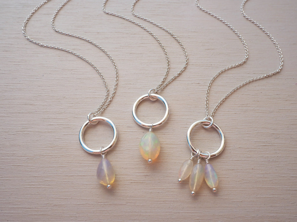 Ethiopian Opal & Silver Circle Necklace | Sterling Silver | Limited Edition