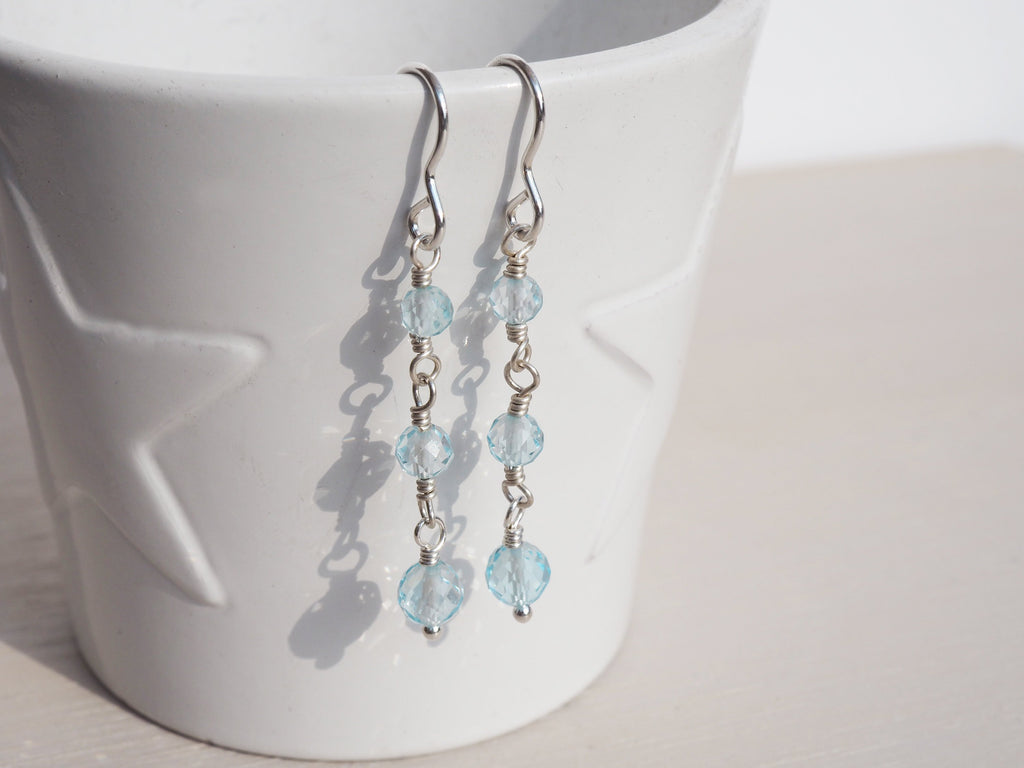 Sky Blue Topaz & Silver Drop Earrings | Sterling Silver | Faceted Rounds