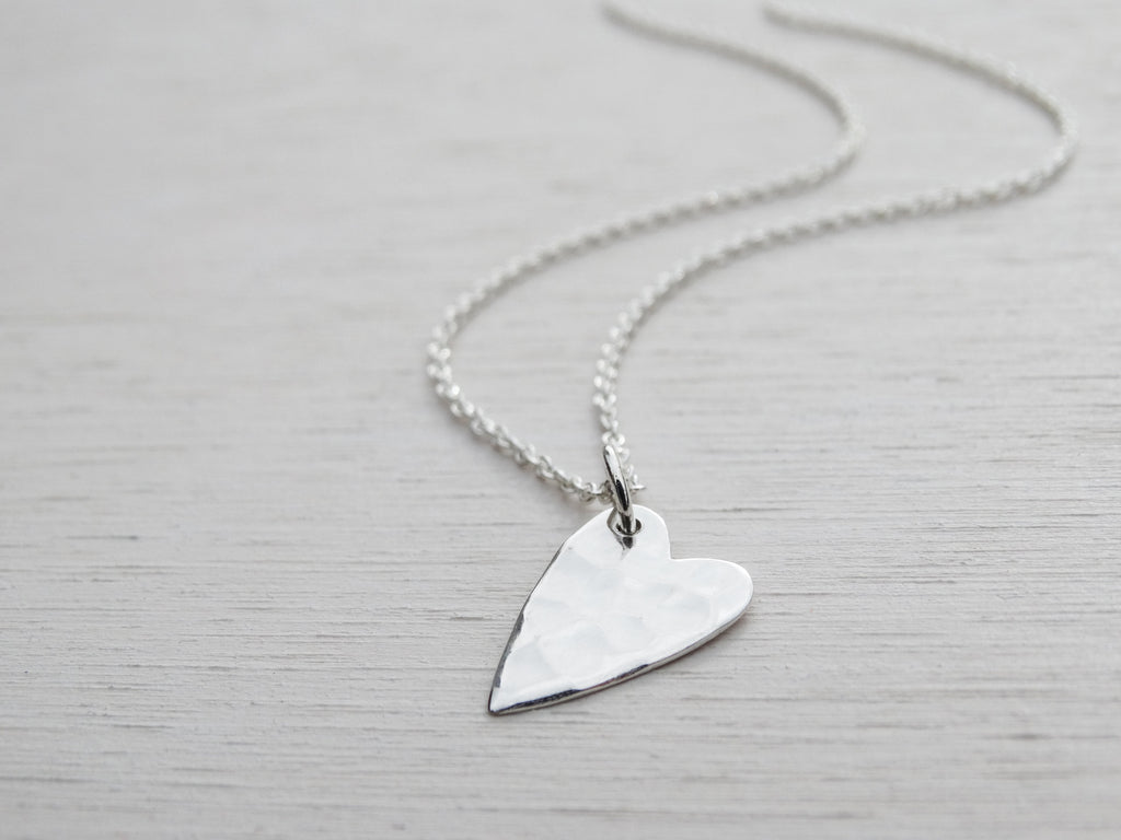 Silver Heart Necklace, Hammered Finish, Sterling Silver