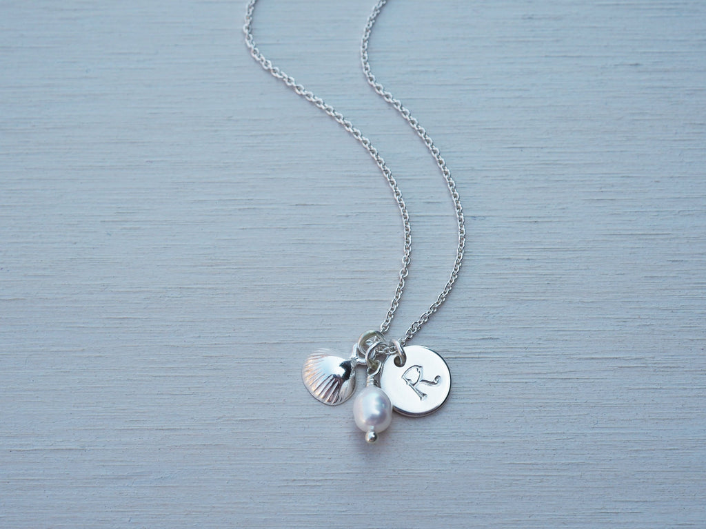 Childrens Silver Seashell Necklace, Personalised, With Pearl, Sterling Silver