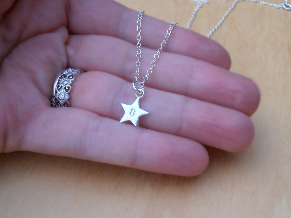 Tiny Silver Star Necklace, 2 Stars With Initials, Personalised, Sterling Silver