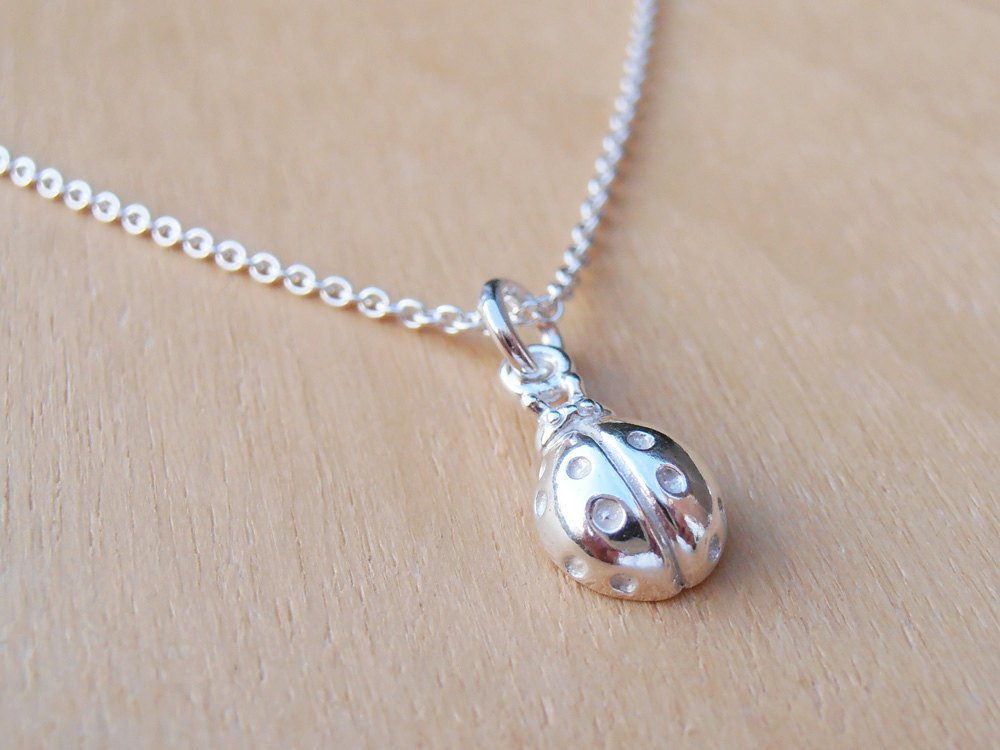 Tiny Silver Ladybird Necklace ~ Sterling Silver