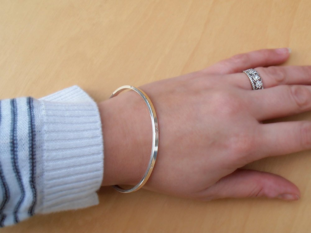 Silver Bangle With Tiny Stars, Sterling Silver