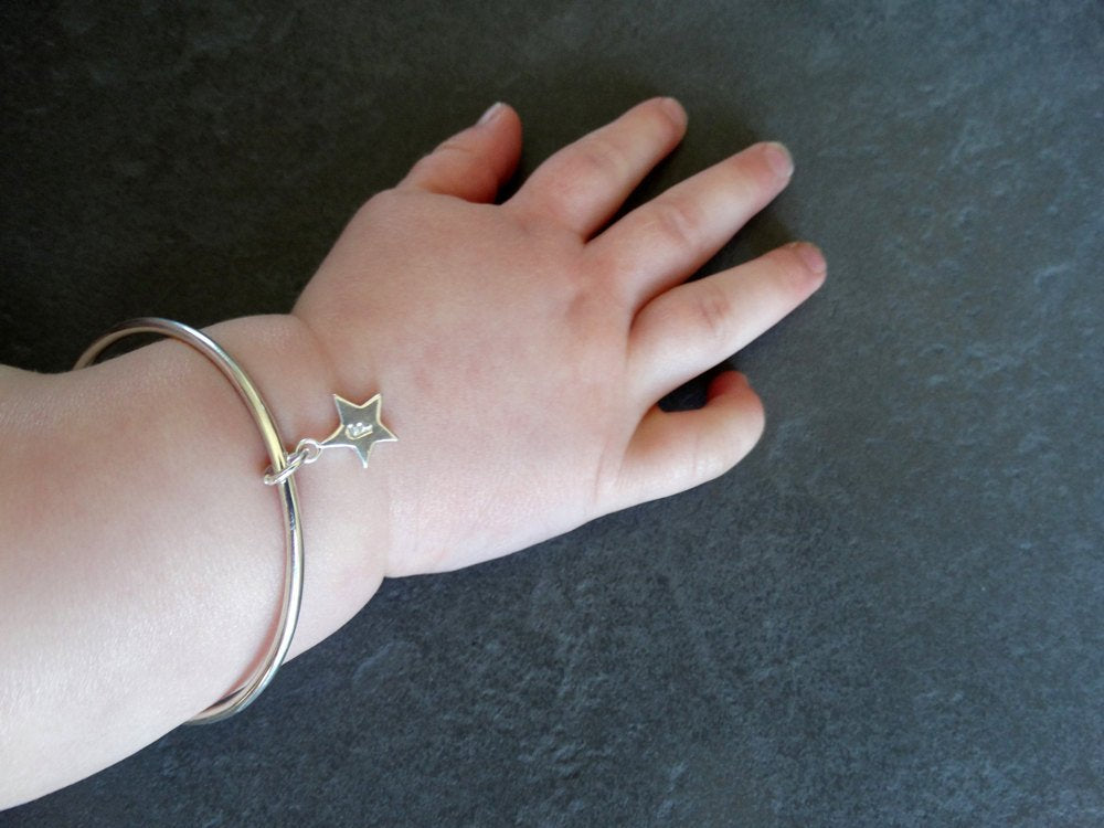 Sterling Silver Childrens Bracelet & Star | Personalised Bracelet