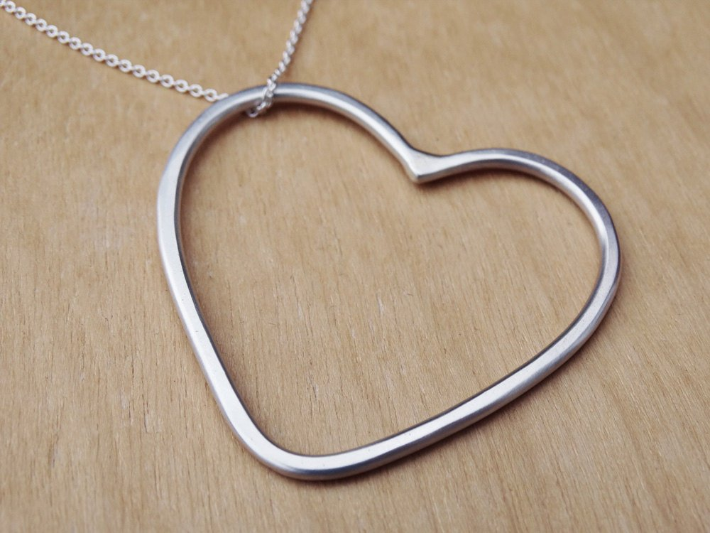 Long Silver Heart Necklace | Sterling Silver