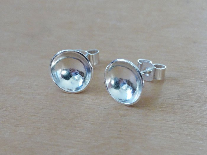 Silver Domed Circle Stud Earrings - Sterling Silver