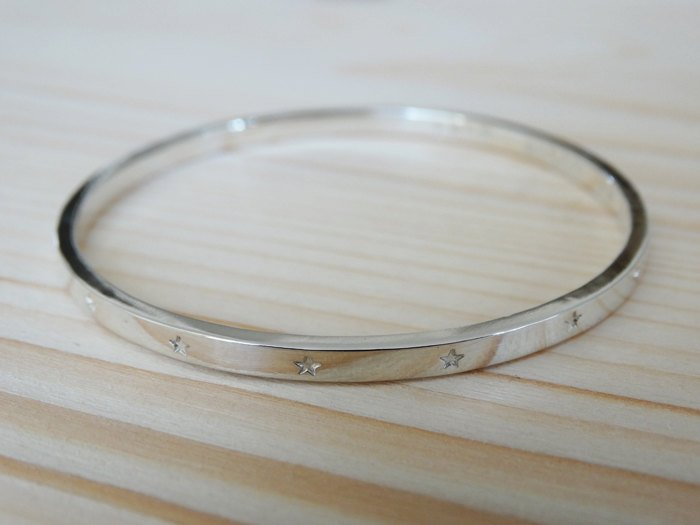 Silver Bangle With Tiny Stars For Baby Or Child - Sterling Silver