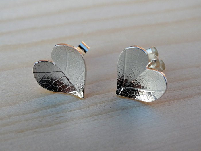 Leaf Imprinted Silver Heart Stud Earrings - Sterling Silver