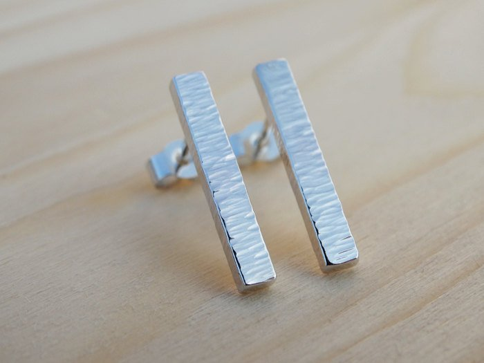 Silver Bar Studs - Textured Sterling Silver Earrings