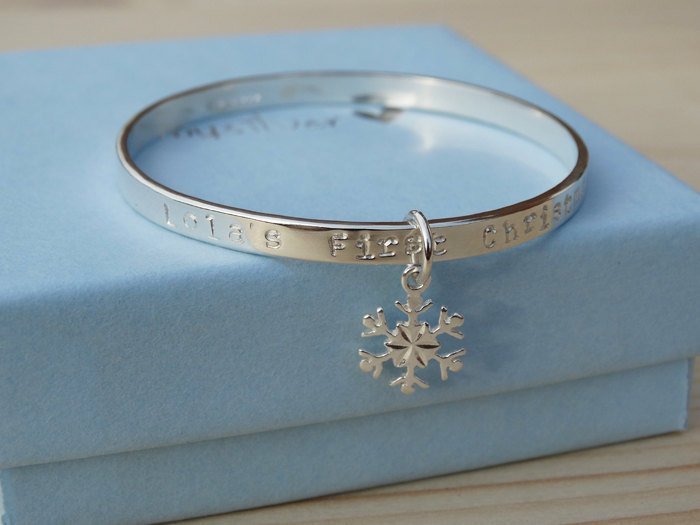Personalised Silver Snowflake Bracelet For Babies First Christmas - Sterling Silver