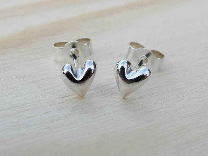 Little Solid Silver Heart Stud Earrings - Sterling Silver