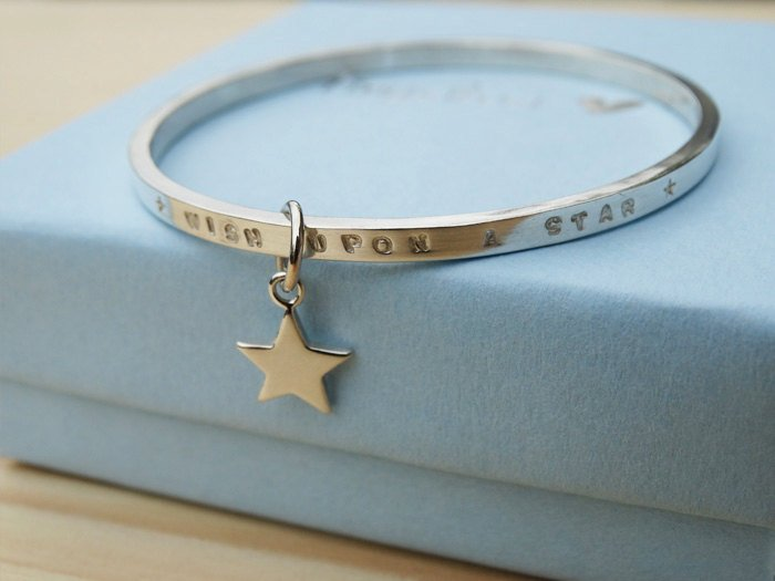 Child's Silver Bracelet  'Wish Upon A Star'  Sterling Silver