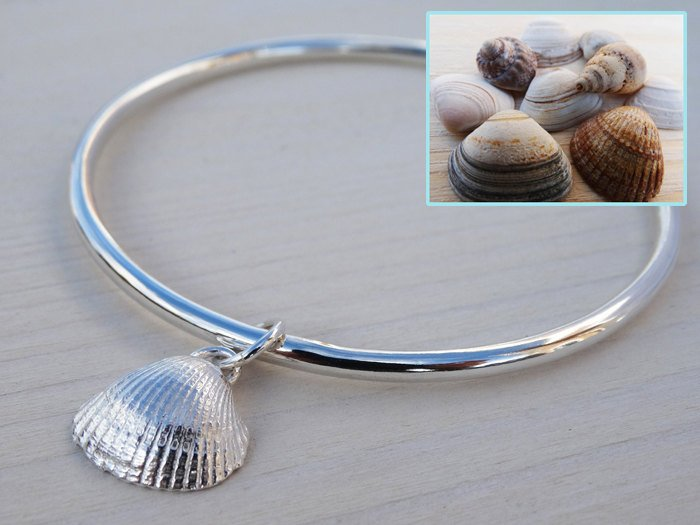 Solid Silver Bangle & Silver Clam Seashell | Sterling Silver