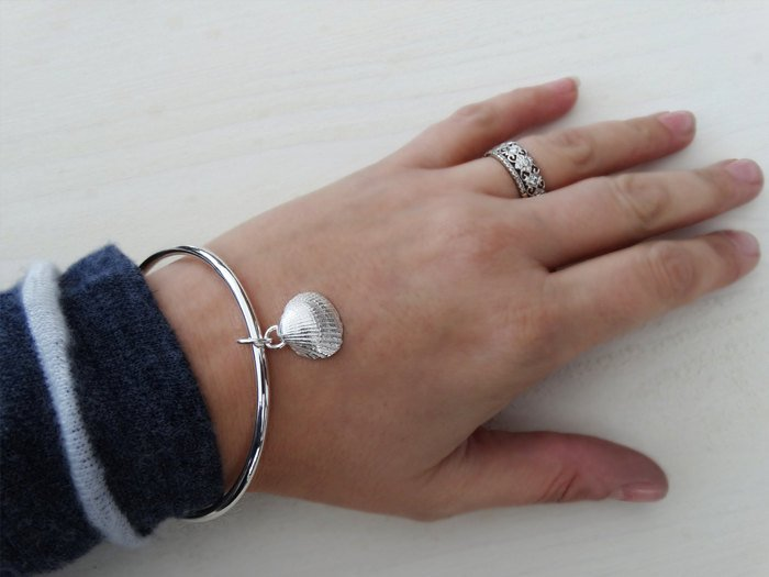 Solid Silver Bangle & Silver Clam Seashell, Sterling Silver