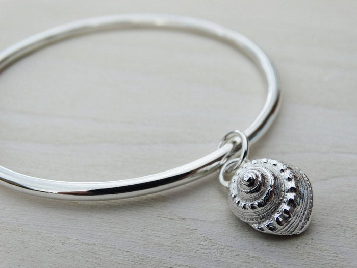 Silver Seashell Bangle, Periwinkle, Sterling Silver