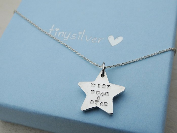 Solid Silver Star Necklace, Sterling Silver