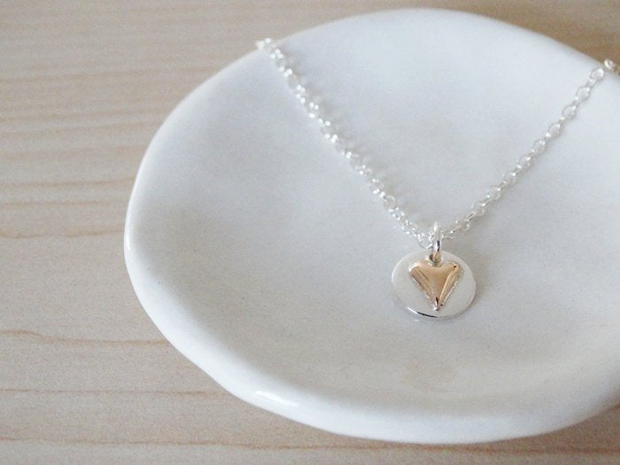Tiny 9ct Gold Heart & Silver Circle Necklace | Sterling Silver