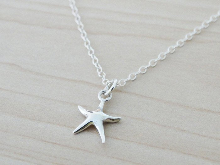 Tiny Silver Starfish Necklace - Sterling Silver