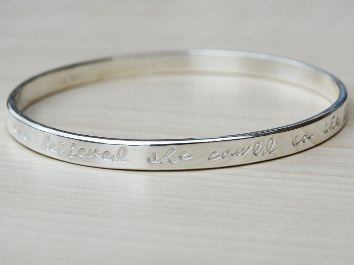 Silver Message Bangle, Script, Sterling Silver