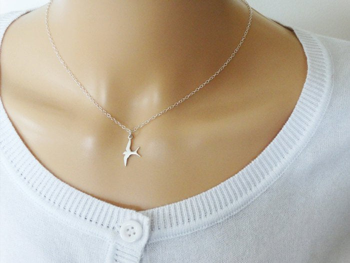 Silver Swallow Necklace, Sterling Silver