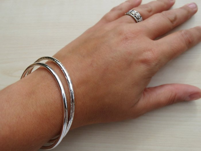 Hammered Solid Silver Bangle | Sterling Silver