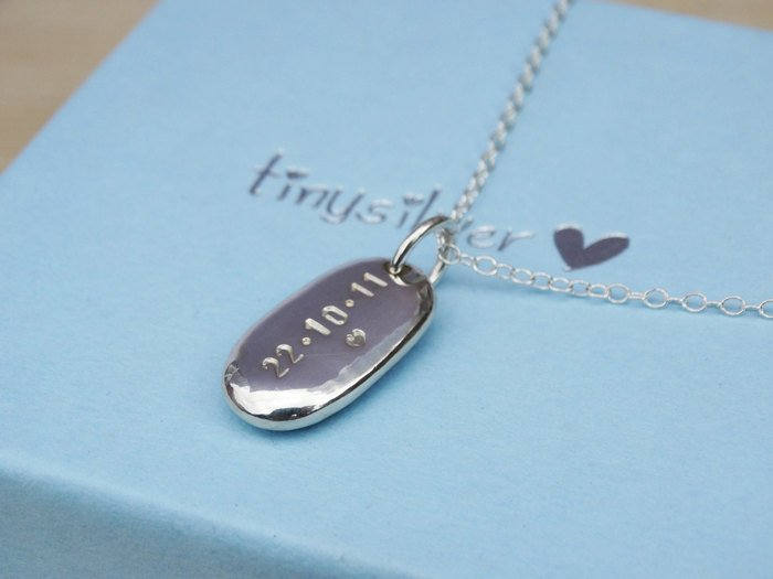 Personalised Silver Pebble Necklace | Sterling Silver
