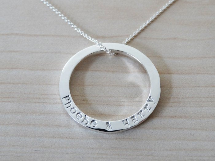 Personalised Silver Circle Necklace | Sterling Silver | Hand Stamped Names