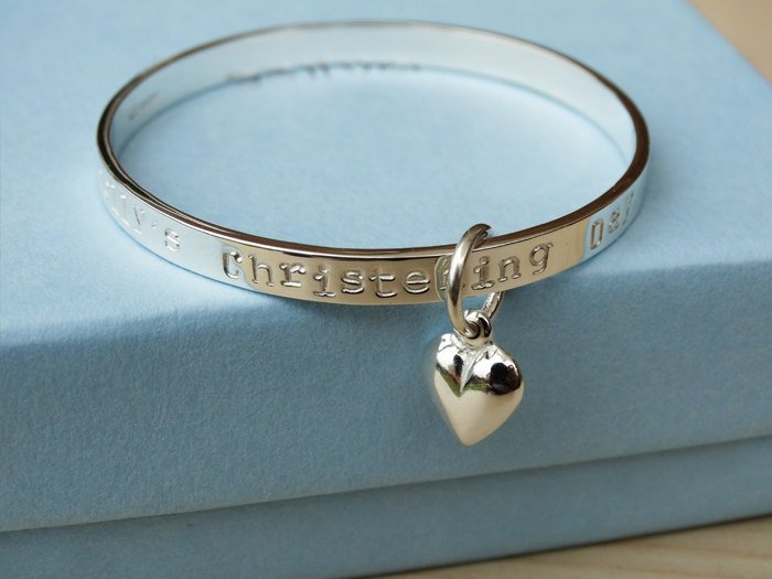 Sterling Silver Baby Bracelet With Heart | Personalised