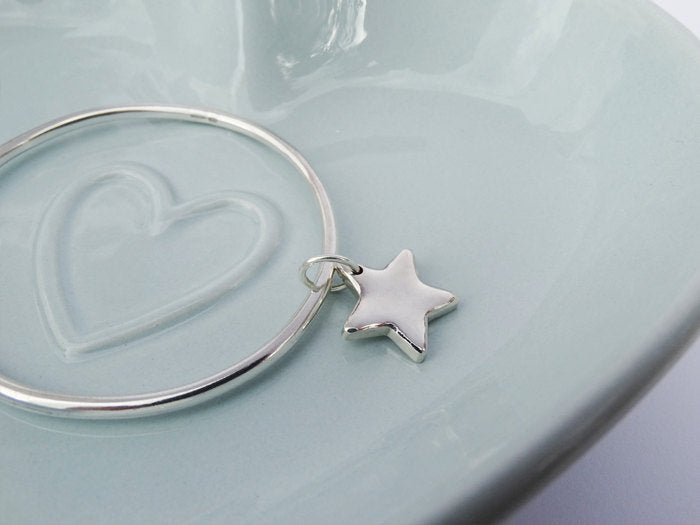 Solid Silver Bangle & Star, Sterling Silver