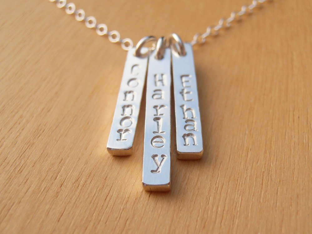 Silver Name Necklace - Three Or More Silver Sticks - Sterling Silver