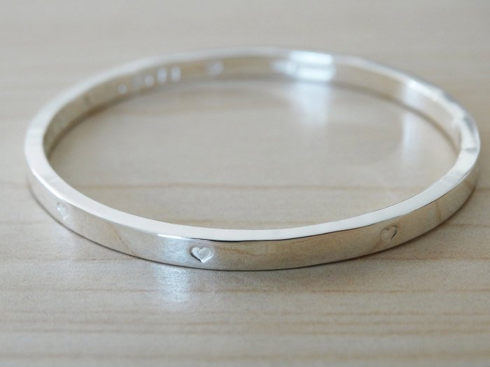Silver Bangle With Tiny Hearts For Baby Or Child, Sterling Silver