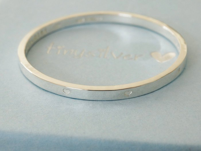 Silver Bangle With Tiny Hearts For Baby Or Child | Sterling Silver | Personalised