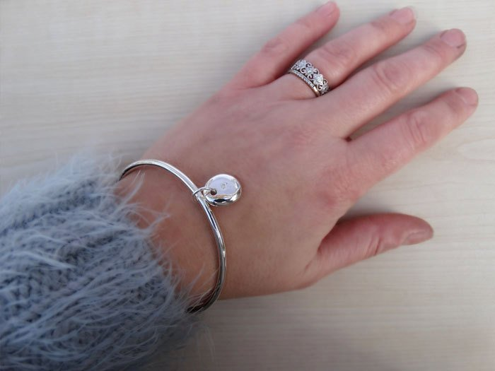 Solid Silver Bangle & Personalised Initial Pebble, Sterling Silver