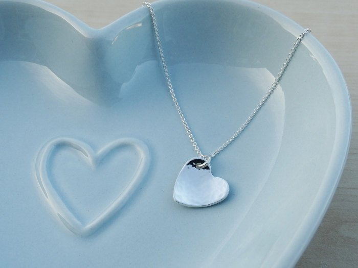 Silver Heart Necklace, Hammered, Sterling Silver